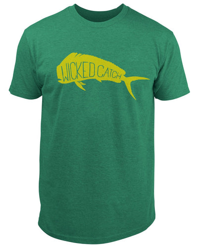 Wicked Bull Dolphin T-Shirt - Mahi green:  Wicked Catch lifestyle fishing t-shirt - front