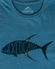 Yellowfin on the Hunt T-Shirt - Tuna blue:  Wicked Catch lifestyle fishing t-shirt - folded closeup
