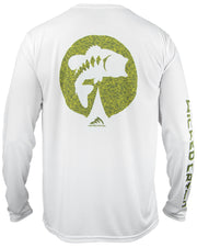 Bass on the Pad - White: Wicked Catch long sleeve UPF 50+ performance fishing shirt - back