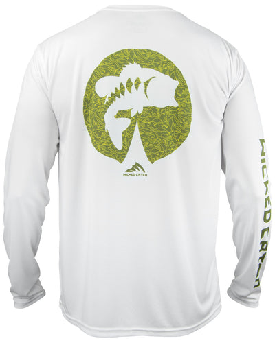 Bass on the Pad - White: Wicked Catch performance fishing shirt - back