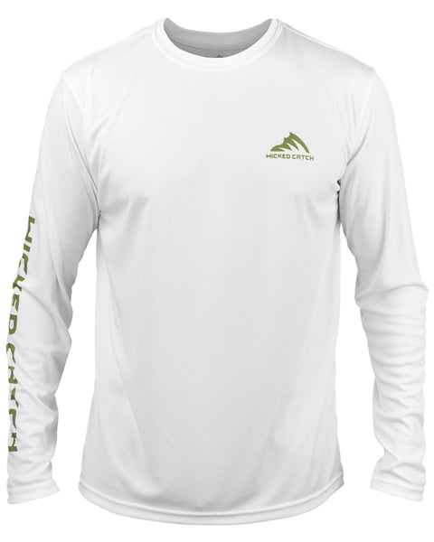 Bass on the Pad - White: Wicked Catch long sleeve UPF 50+ performance fishing shirt - front