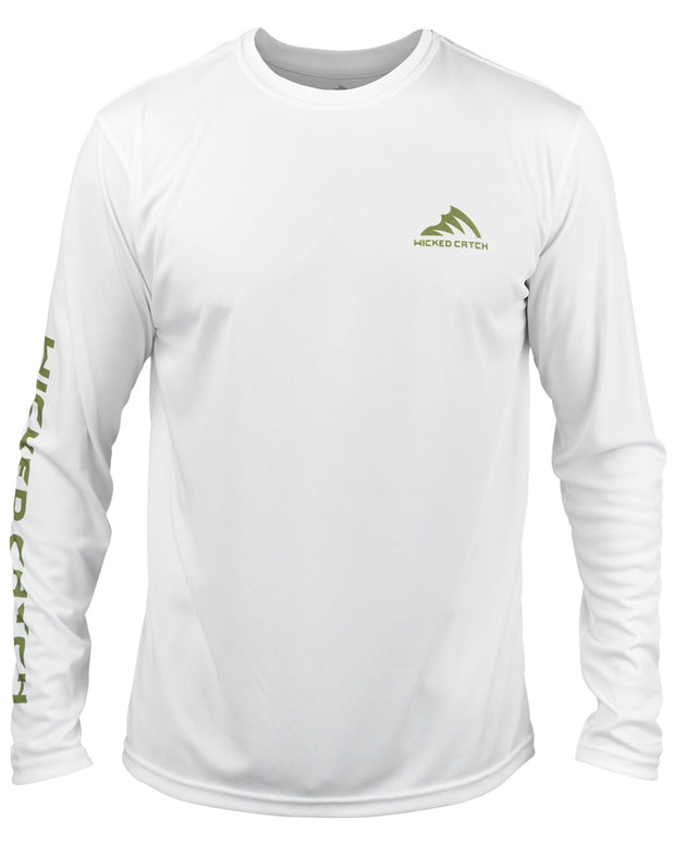 Bass on the Pad - White: Wicked Catch performance fishing shirt - front