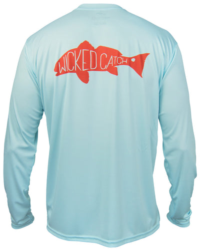 Slot Redfish - Flats blue: Wicked Catch long sleeve UPF 50+ performance fishing shirt - back
