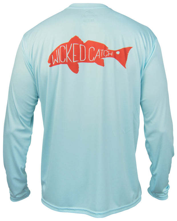 Slot Redfish - Flats blue: Wicked Catch performance fishing shirt - back
