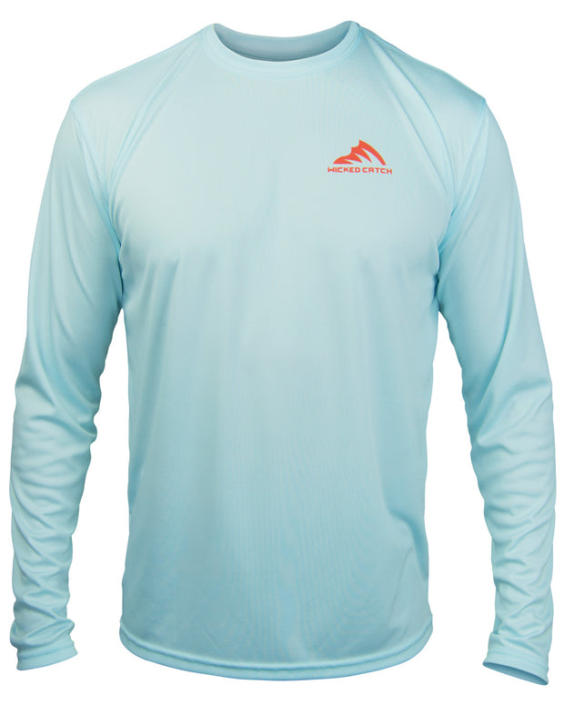 Slot Redfish - Flats blue: Wicked Catch long sleeve UPF 50+ performance fishing shirt - front