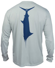 T.C. Marlin - Fog gray: Wicked Catch long sleeve UPF 50+ performance fishing shirt - back