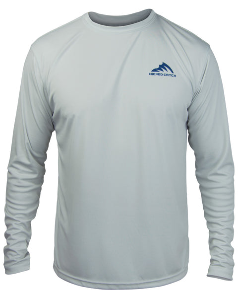 T.C. Marlin - Fog gray: Wicked Catch long sleeve UPF 50+ performance fishing shirt - front