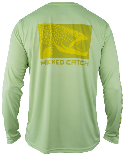 Wicked Brown Trout - Caddis green: Wicked Catch long sleeve UPF 50+ performance fishing shirt - back