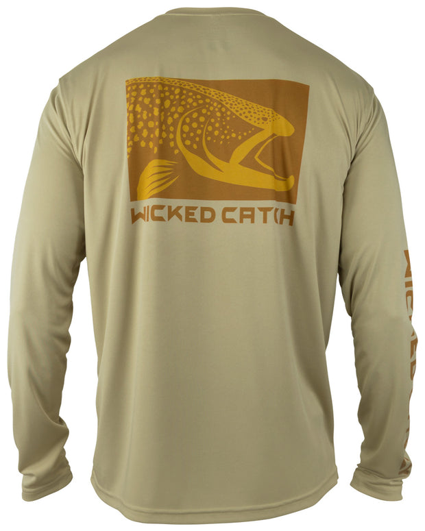 Wicked Brown Trout - Light mocha: Wicked Catch long sleeve UPF 50+ performance fishing shirt - back