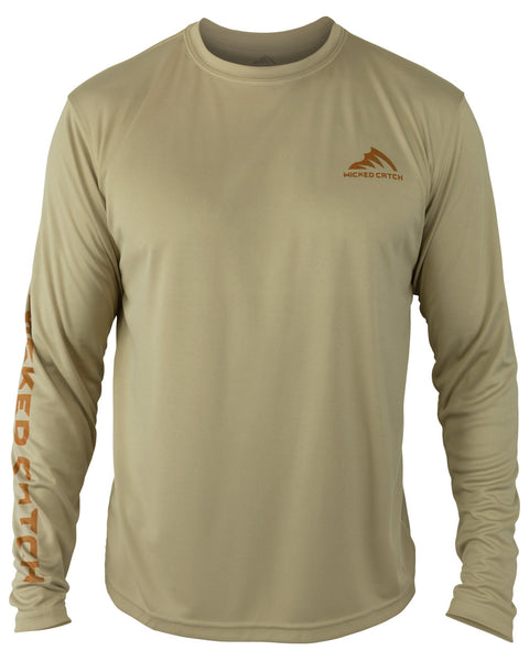 Wicked Brown Trout - Light mocha: Wicked Catch long sleeve UPF 50+ performance fishing shirt - front