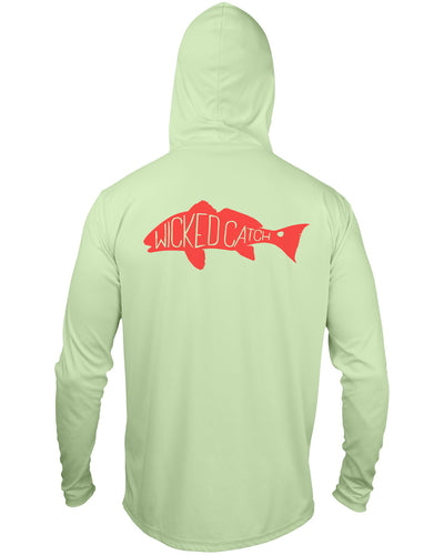 Slot Redfish - Marsh green: Wicked Catch long sleeve UPF 50+ performance hoodie fishing shirt - back