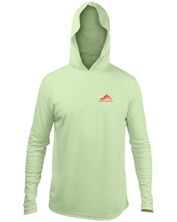 Slot Redfish - Marsh green: Wicked Catch long sleeve UPF 50+ performance hoodie fishing shirt - front