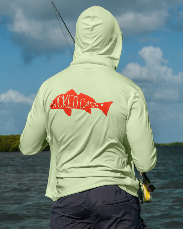 Slot Redfish - Marsh green: Wicked Catch long sleeve UPF 50+ performance hoodie fishing shirt - outdoors