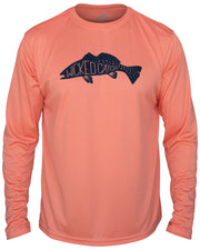 Fang Tooth Seatrout - Salmon: Wicked Catch long sleeve UPF 50+ performance fishing shirt - front