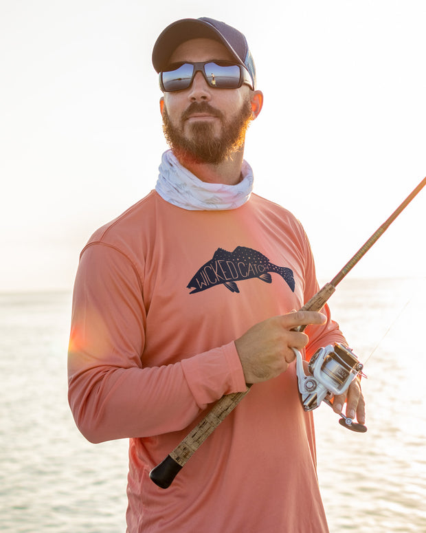 Fang Tooth Seatrout - Salmon: Wicked Catch long sleeve UPF 50+ performance fishing shirt - model 01
