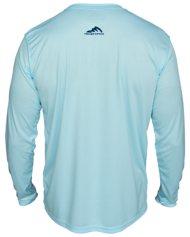Super Fly Tarpon - Flats blue: Wicked Catch long sleeve UPF 50+ performance fishing shirt - back