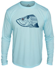 Super Fly Tarpon - Flats blue: Wicked Catch long sleeve UPF 50+ performance fishing shirt - front