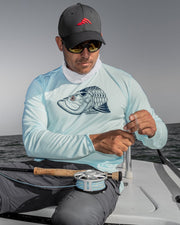 Super Fly Tarpon - Flats blue: Wicked Catch long sleeve UPF 50+ performance fishing shirt - model