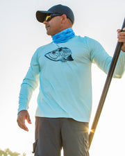 Super Fly Tarpon - Flats blue: Wicked Catch long sleeve UPF 50+ performance fishing shirt - model 01