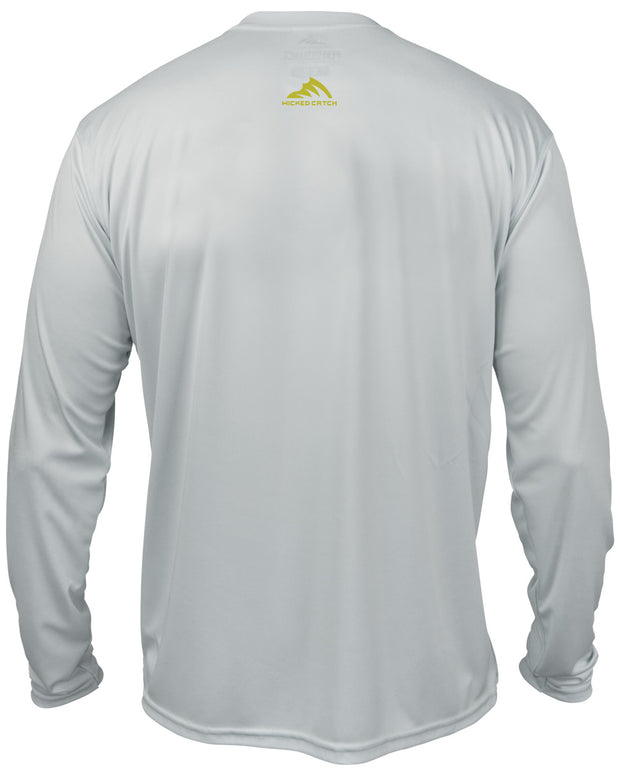 Wicked Bull Dolphin - Fog gray: Wicked Catch long sleeve UPF 50+ performance fishing shirt - back