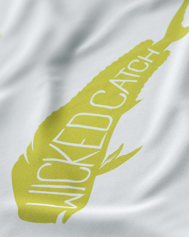 Wicked Bull Dolphin - Fog gray: Wicked Catch long sleeve UPF 50+ performance fishing shirt - closeup