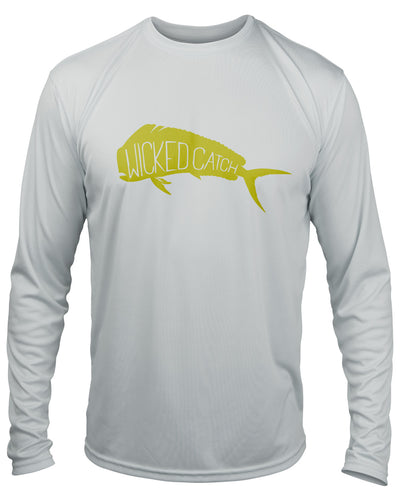 Wicked Bull Dolphin - Fog gray: Wicked Catch long sleeve UPF 50+ performance fishing shirt - front