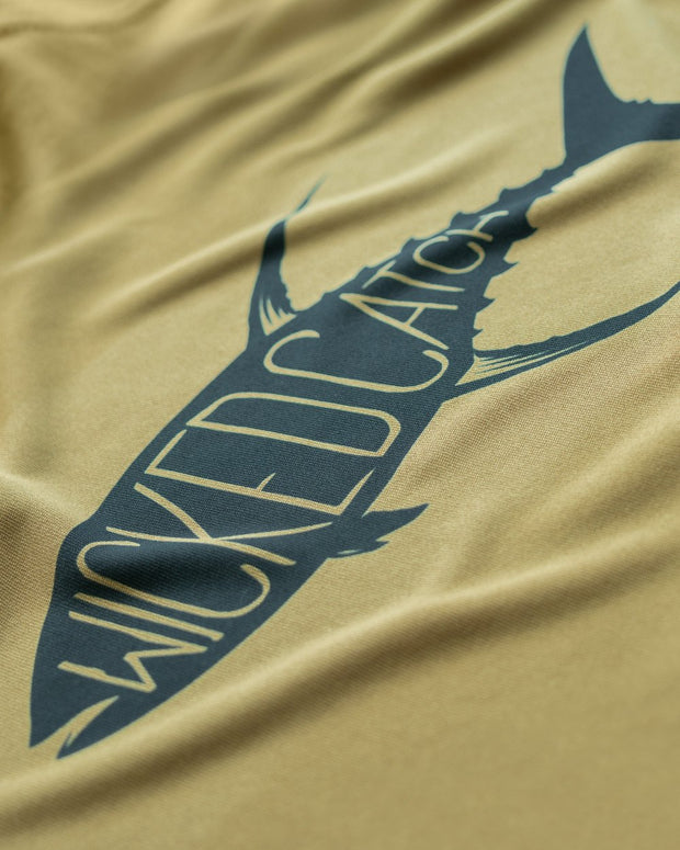 Yellowfin on the Hunt - Desert sand: Wicked Catch long sleeve UPF 50+ performance fishing shirt - closeup