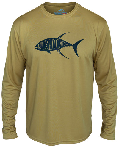 Yellowfin on the Hunt - Desert sand: Wicked Catch long sleeve UPF 50+ performance fishing shirt - front