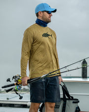 Yellowfin on the Hunt - Desert sand: Wicked Catch long sleeve UPF 50+ performance fishing shirt - outdoor