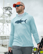 Yellowfin on the Hunt - Flats Blue: Wicked Catch long sleeve UPF 50+ performance hoodie fishing shirt - model