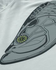 Super Fly Tarpon - Fog Gray: Wicked Catch long sleeve UPF 50+ performance hoodie fishing shirt - closeup