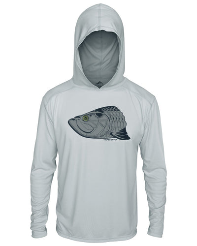 Super Fly Tarpon - Fog Gray: Wicked Catch long sleeve UPF 50+ performance hoodie fishing shirt - front