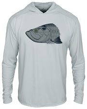 Super Fly Tarpon - Fog Gray: Wicked Catch long sleeve UPF 50+ performance hoodie fishing shirt - hood down