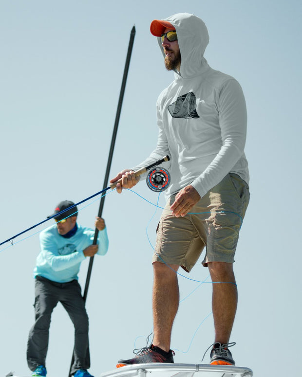 Super Fly Tarpon - Fog Gray: Wicked Catch long sleeve UPF 50+ performance hoodie fishing shirt - model 01