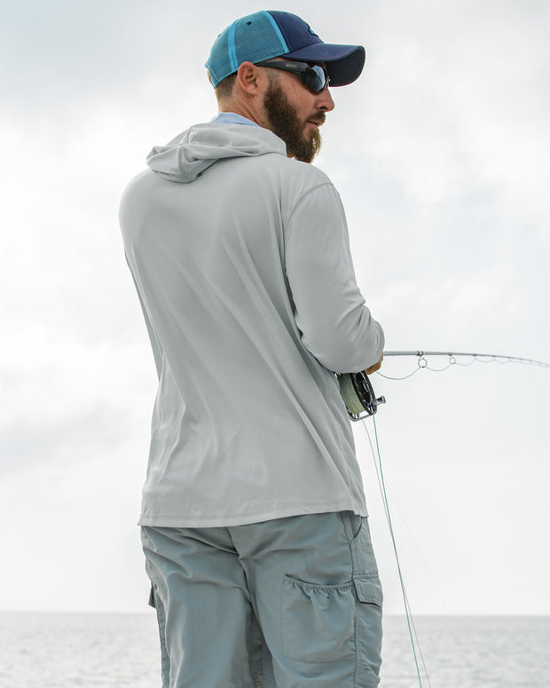 Super Fly Tarpon - Fog Gray: Wicked Catch long sleeve UPF 50+ performance hoodie fishing shirt - back