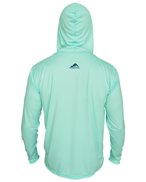 Super Fly Tarpon - Seafoam: Wicked Catch long sleeve UPF 50+ performance hoodie fishing shirt - back