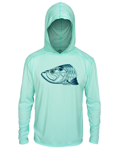 Super Fly Tarpon - Seafoam: Wicked Catch long sleeve UPF 50+ performance hoodie fishing shirt - front