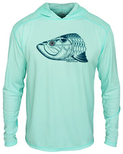 Super Fly Tarpon - Seafoam: Wicked Catch long sleeve UPF 50+ performance hoodie fishing shirt - hood down