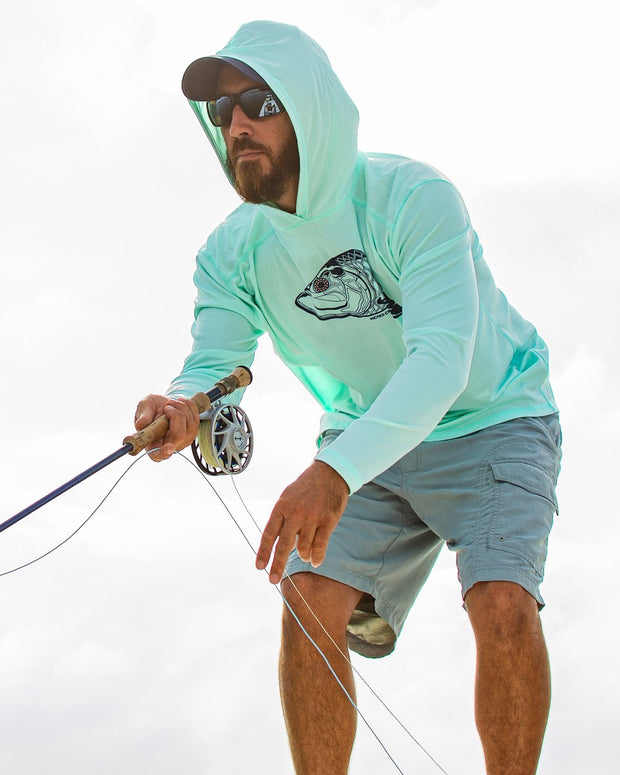 Super Fly Tarpon - Seafoam: Wicked Catch long sleeve UPF 50+ performance hoodie fishing shirt - model 01