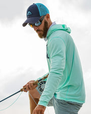 Super Fly Tarpon - Seafoam: Wicked Catch long sleeve UPF 50+ performance hoodie fishing shirt - model 02
