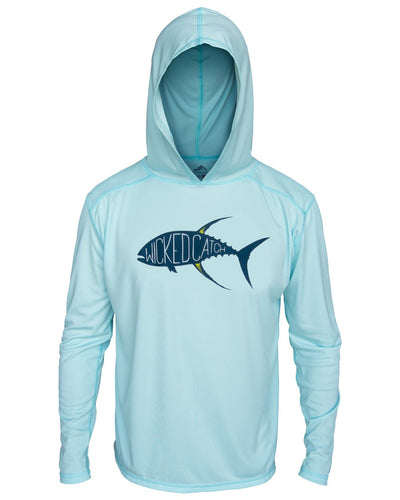 Yellowfin on the Hunt - Flats Blue: Wicked Catch long sleeve UPF 50+ performance hoodie fishing shirt - front