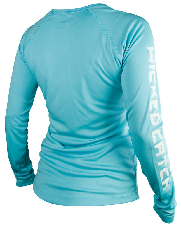 Women's Iconic - Coral blue: Wicked Catch performance fishing shirt - down