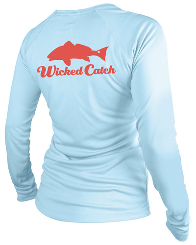 Women's Slot Redfish - Flats blue: Wicked Catch performance fishing shirt - back