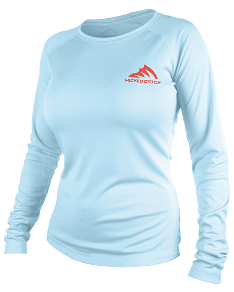 Women's Slot Redfish - Flats blue: Wicked Catch performance fishing shirt - front