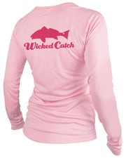 Women's Slot Redfish - Light pink: Wicked Catch performance fishing shirt - back