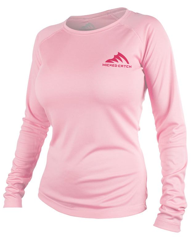 Women's Slot Redfish - Light pink: Wicked Catch performance fishing shirt - front