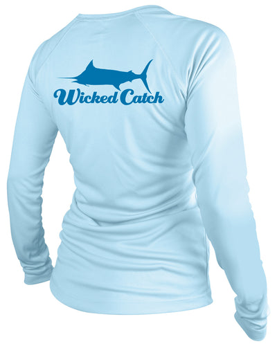 Women's T.C. Marlin - Flats blue: Wicked Catch performance fishing shirt - back