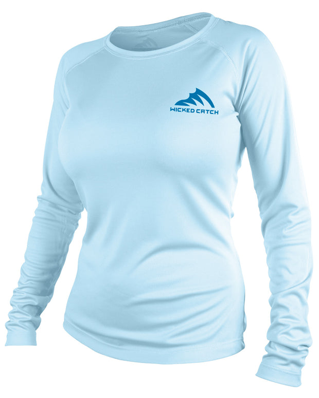 Women's T.C. Marlin - Flats blue: Wicked Catch performance fishing shirt - front