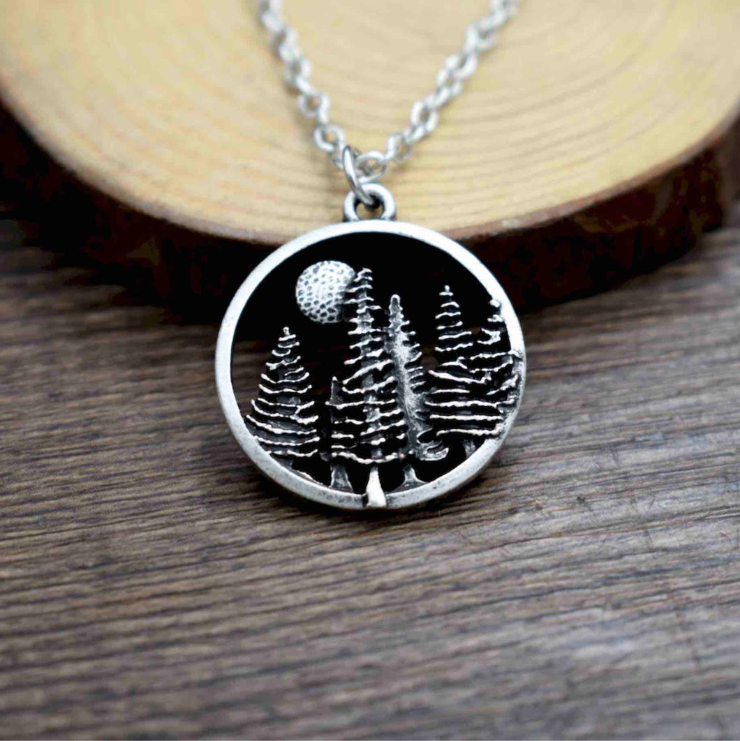 Handmade Winter Forest Pendant Necklace