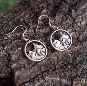 Handmade Sterling Silver Mountain Pendant Earrings